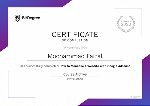 Sertifikat How to Monetize a Website with Google Adsense