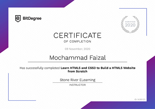 Sertifikat Learn HTML5 and CSS3 to Build a HTML5 Website from Scratch