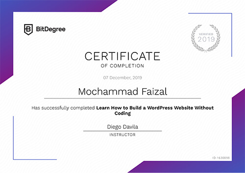 Sertifikat Learn How to Build a WordPress Website Without Coding