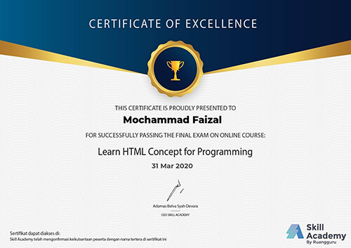 Sertifikat Learn HTML Concept for Programming