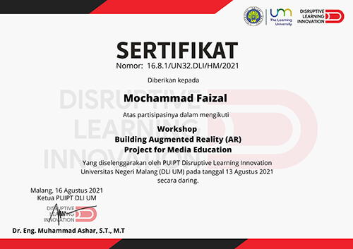 Sertifikat Building Augmented Reality Project for Media Education